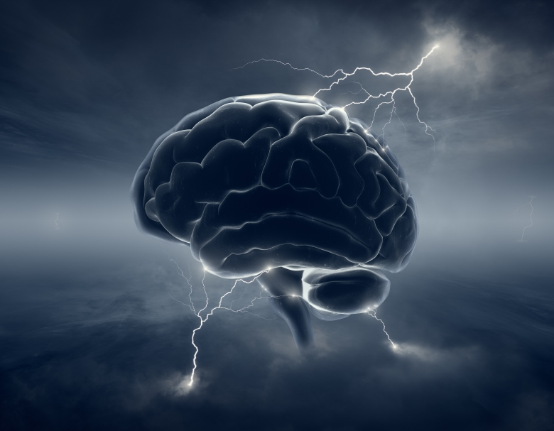 Brain in stormy cloudscape and lightning - conceptual of brainst