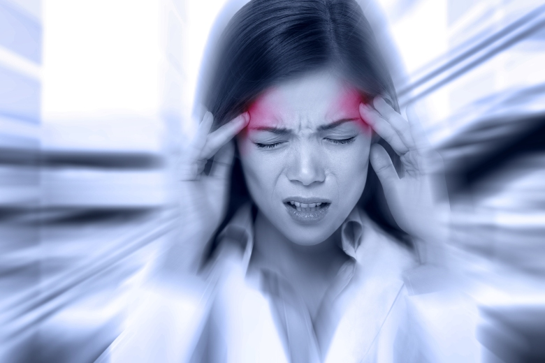 Headache migraine people - Doctor woman stressed. Woman Nurse /