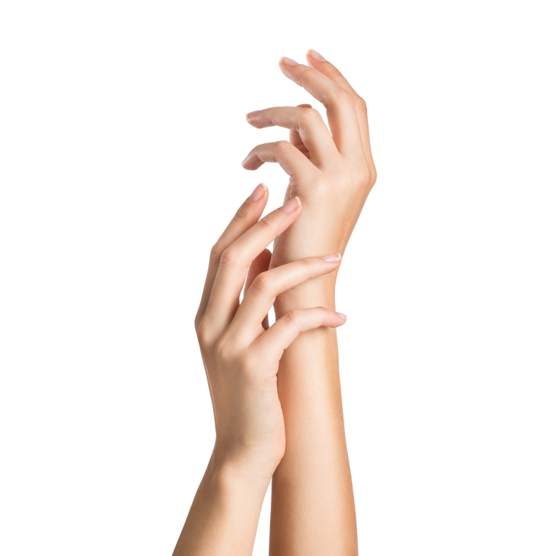 Close up of woman's hands isolated on white background. Closeup