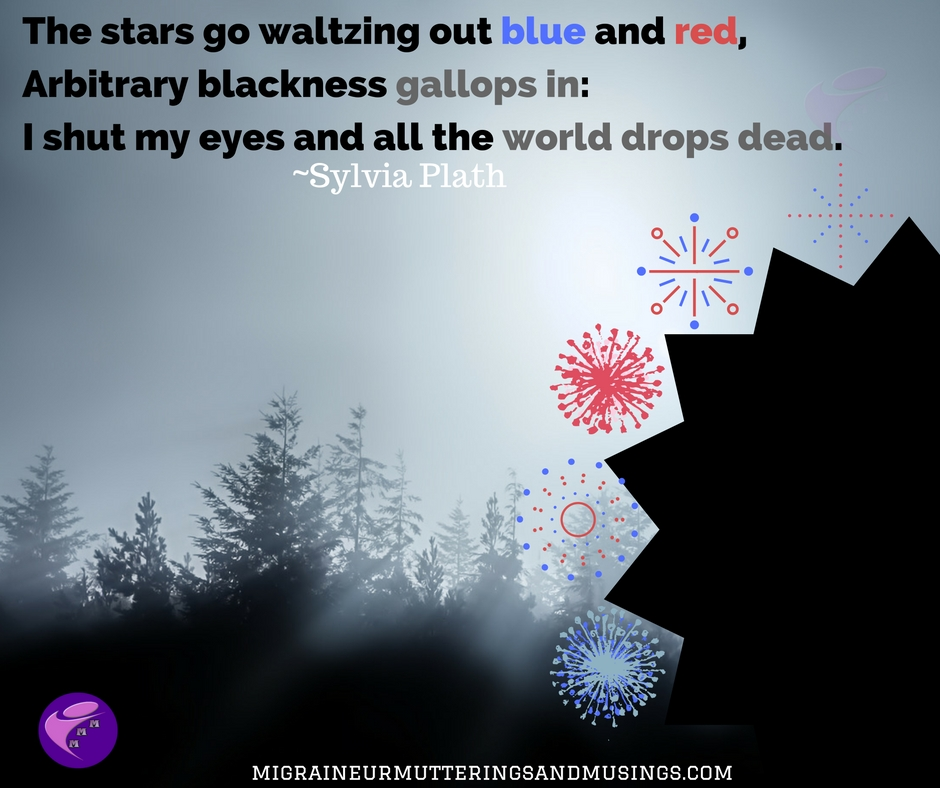 The stars go waltzing out blue and red,Arbitrary blackness gallops in_I shut my eyes and all the world drops dead.