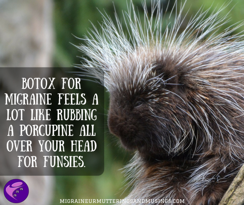 BOTOX for migraine feels a lot like rubbing a porcupine all over your head for funsies..png