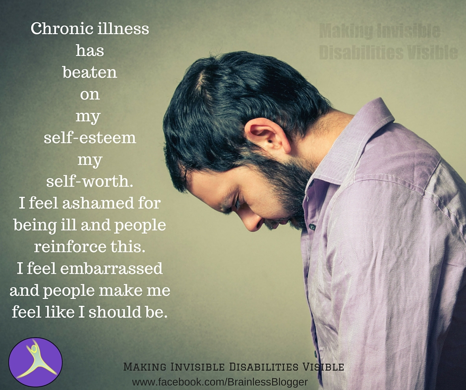 Chronic illnesshasbeatenonmy self-esteemmyself-worth.I feel ashamed for being ill and people reinforce this.I feel embarrassed and people make me feel like I should be.