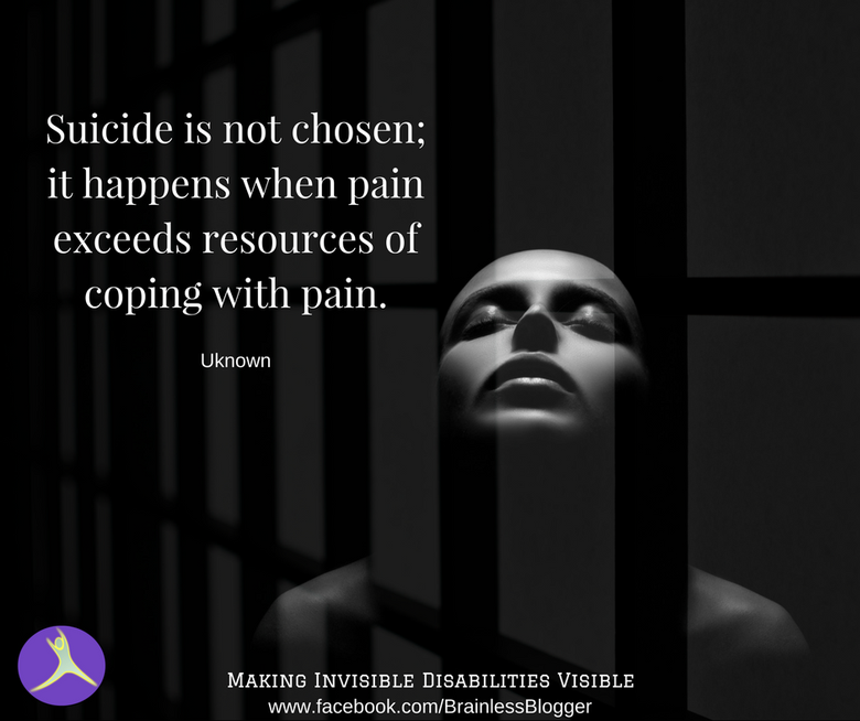 Suicide is not chosen; it happens with pain exceeds coping