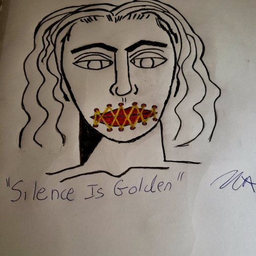 Silence is golden abstract drawing