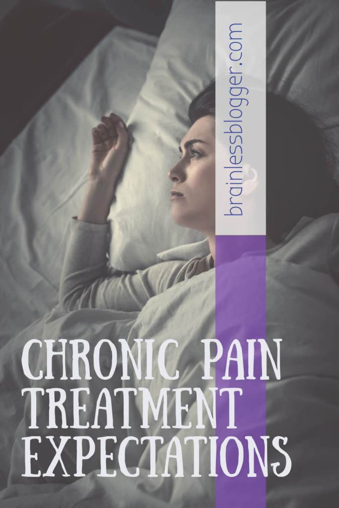 Chronic pain treatment expectations pin picture- woman lying in bed